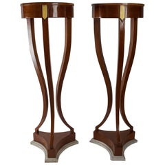 French Pair of Mahogany and Marble Pedestal Torchiere Stands, Late 18th Century