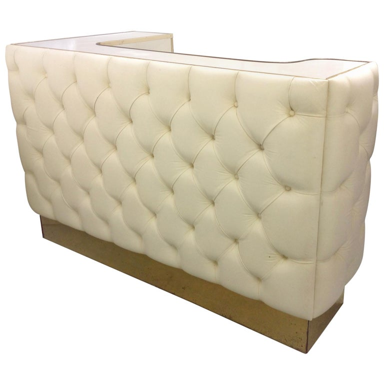 Custom Leather Upholstered Midcentury Bar For Sale