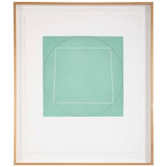 """Robert Mangold, Aquatint Etching Titled """"Distorted Square Within a Circle"""""""
