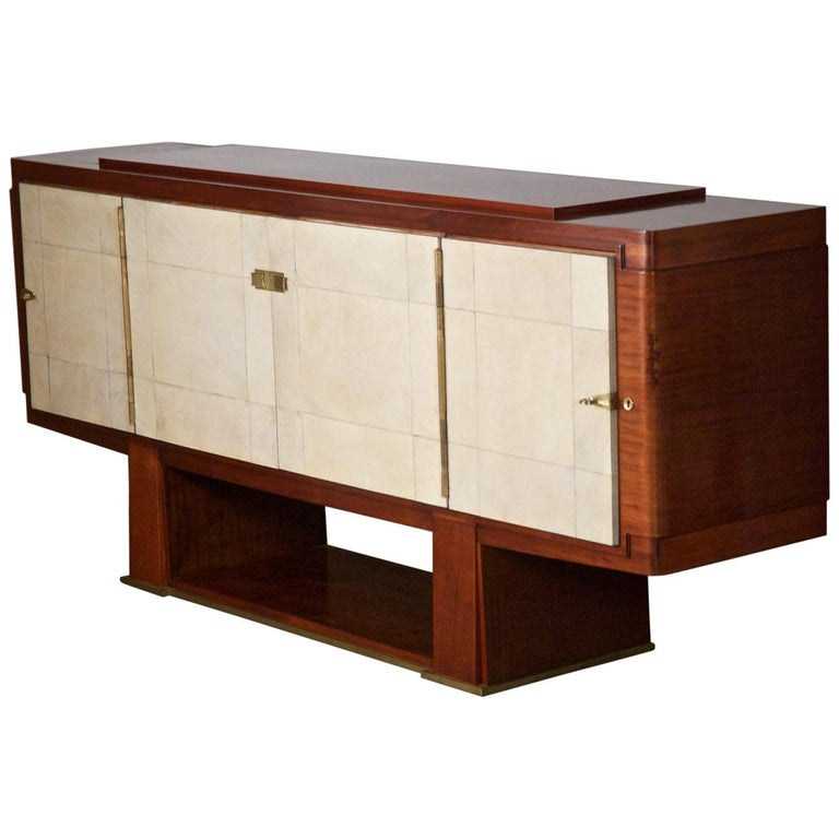 French Art Deco Cabinet by Maxime Old, Rosewood with Parchment Doors For Sale