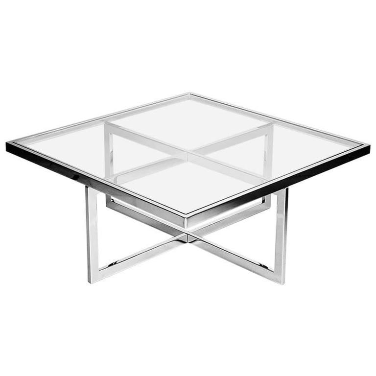 Square Chrome and Brass Coffee Table, Italy, 1970s