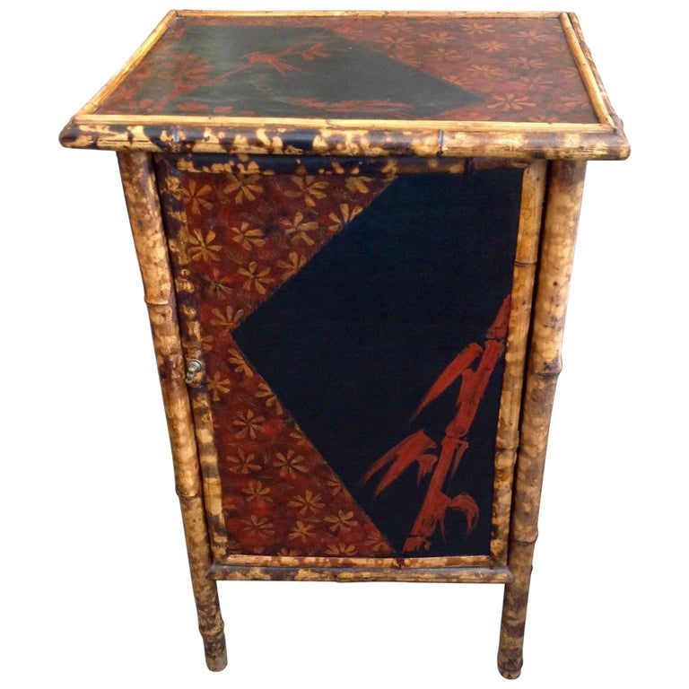 Edwardian Bamboo Side Cabinet For Sale