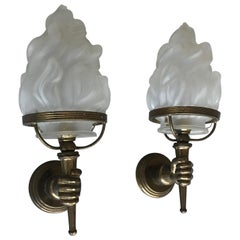 Striking Pair of Maison Baguès Style Opposite Hand Sconces W. Glass Flame Shades