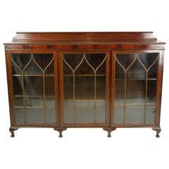 Antique Walnut Bookcase, Display Cabinet, Scotland 1920, Antique Furniture