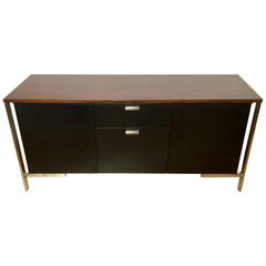 Midcentury Chrome Rosewood and Ebony File Cabinet or Server by Milo Baughman