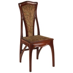 Attributed to Eugene Gaillard Pair of French Art Nouveau Side Chairs