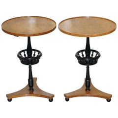 Nice Pair of Restored Biedermeier Burr Walnut Side End Lamp Wine Tables Ebonized