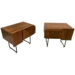 Italian Wood & Steel Midcentury Nightstands/Side or End Tables, Gio Ponti, Pair