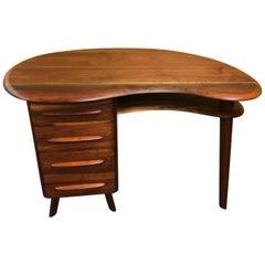 Midcentury Walnut Kidney Shaped Desk by Carl Bissman