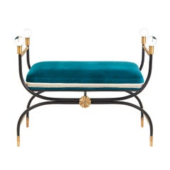 Rider Campaign Bench in Peacock Velvet