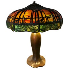 Arts & Crafts Handel Palm Tree Table Lamp Signed on Base and Shade