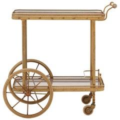 Spanish Art Deco Brass and Wood Bar Cart