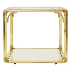 Glass Top Brass Side Table with Mirrored Shelf
