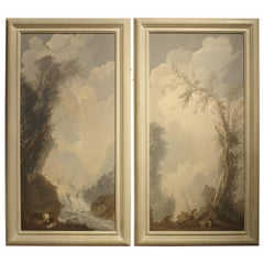 Pair of Framed 19th Century Vertical Landscapes, Hand Painted Paper on Board