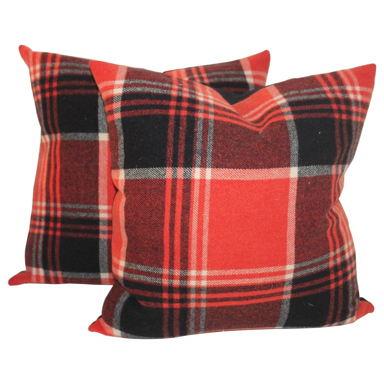 Plaid Pendleton Blanket Pillows or Pair For Sale