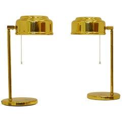 Pair of Scandinavian Modern Desk Tables in Brass
