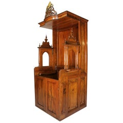 Rare Italian 19th Century Carved Pine Catholic Church Confessional Stall, Booth
