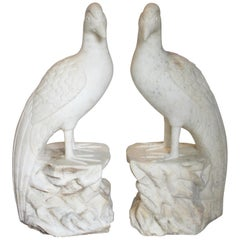 Pair of Indian Carved White Marble Pheasants