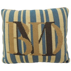 Vintage Monogram Tapestry Decorative Bolster Pillow with Letters B.M.D.