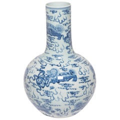 Monumental Blue and White Gooseneck Vase with Fu Dogs