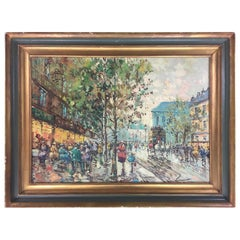 "Early 20th Century, ""Parisian Street Scene"" Oil on Canvas Painting, Signed"