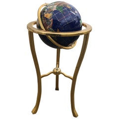 Midcentury Lapis World Globe on Brass Stand