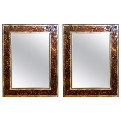 Pair of Monumental Tortoise Shell Beveled Bordered Console or Wall Mirrors