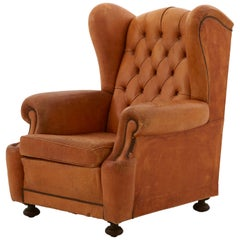 Spanish Tufted Leather Wingback Chair