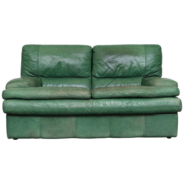 Kelly Green Leather Love Seat Sofa For Sale