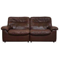 De Sede DS 66 Brown Leather Love Seat Sofa