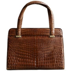 Gucci Cognac Alligator Bag and Matching Purse from the Collection of Ann Turkel