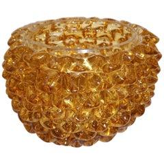 Barovier Toso 1950s Italian Vintage Amber Gold Rostrato Murano Glass Vase / Bowl