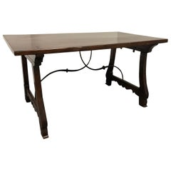 Baroque Spanish Style Wood and Metal Trestle Table