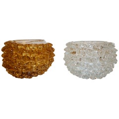 Barovier Toso 1950s Italian Vintage Gold and Crystal Rostrato Murano Glass Bowls