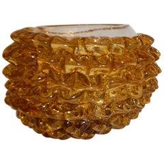 Barovier Toso 1950s Italian Vintage Amber Gold Rostrato Murano Glass Bowl