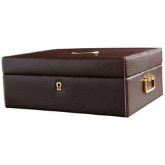 Mark Cross Leather Brown Leather Jewelry Box from the Collection of Ann Turkel