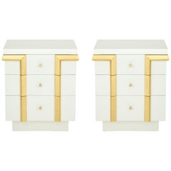Art Deco Matte White Lacquer Nightstands