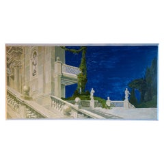 Study for a Painting of a Classic Italian Garden Garden Stairs on Board