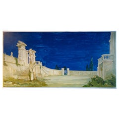 Study for a Painting of a Classic Italian Garden Courtyard with Gate on Board