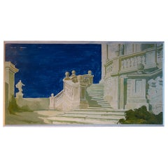 Study for a Painting of a Classic Italian Garden Courtyard on Board