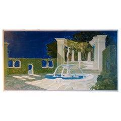 Study for a Painting of a Classic Italian Garden Fountain on Board