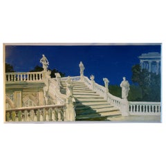 Study for a Painting of a Classic Italian Garden Stairs on Board