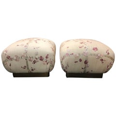 Pair of Marge Carson Cherry Blossom Vintage Ottomans