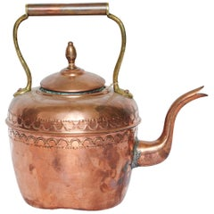 19th Century, Hammered Rustic Copper and Brass Kettle with Makers Mark