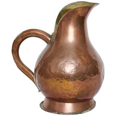 19th Century, French Copper and Brass Pitcher Jug