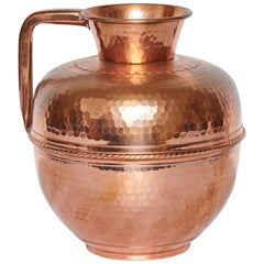 Antique French Hammered Copper Pitcher Jug, Hallmarked