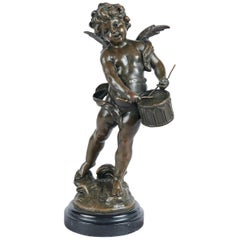 Antique French L & F Moreau Bronze Cupid on Marble Base