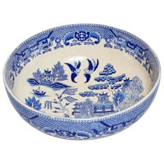 Antique Japanese Porcelain Bowls, Hand Painted Willow Pattern, Matching Pair