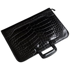 Extremely Rare Black Alligator Belly Folio from the Collection of Ann Turkel