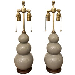 Christopher Spitzmiller Medium Three Ball Ceramic Table Lamps, a Pair